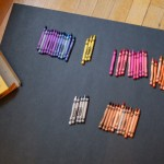 Sorting the crayons by label color